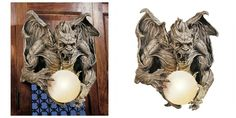 You'll evoke Gothic mystery with the eerie light emanating from this intriguing work of mystical, decorative art. This amazingly detailed sculpture is cast in quality designer resin and finished with a glass globe. Medieval Gothic, Glass Globe, Wall Sculptures, Lamp Light, Light Fixtures, Art Decor, Wall Lights, Dragon, Study