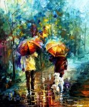 Rainy Walk With My Best Firend - LARGE SIZE Limited Edition High Quality Artistic Print on Cotton Canvas by Leonid Afremov