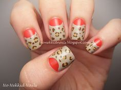 this matches my outfit today!    No Nekkid Nails - Half Moon Leopard Mani!