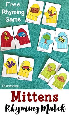 FREE Rhyming matching activity with mittens. Great winter learning for preschoolers and kindergarten.