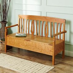 Learn Woodworking Blacker House bench Woodworking Plan from WOOD Magazine - Curved lines on this bench soften the straight, boxy look typical of much Arts Woodworking Bench Plans, Woodworking Projects For Kids, Learn Woodworking, Wood Plans, Popular Woodworking, Woodworking Furniture, Wood Projects, Woodworking Books, Woodworking Jigsaw