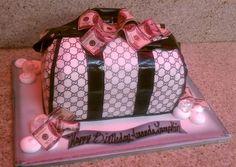 gucci purse cake Pretty Cakes, Beautiful Cakes, Amazing Cakes, Cupcakes, Cupcake Cookies, Gucci Cake, Black Gucci Purse, Name Brand Handbags, Designer Handbags On Sale