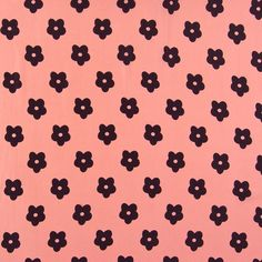 Retro Floral Print Polyester Peachskin Fabric Pink Black 147cm