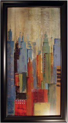 Towerscape I Framed Artwork || A modern piece of artwork great for adding a pop of sultry color to dining room or library staging. cort.com