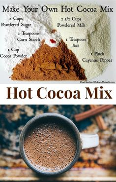 Hot Cocoa Mix, Hot Cocoa Mix Recipe, DIY Cocoa Mix, Hot Chocolate Mix Recipes