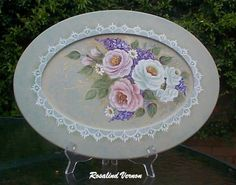 Tray painted from Rosalind Vernons .pattern pack design Roses and Lilac