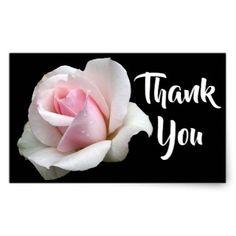 Floral Thank You Pink Rose Flower Black Wedding Rectangular Sticker - wedding cyo special idea weddings
