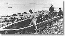 Men hollowing out a canoe -  CD94-631-017 - 72-18064