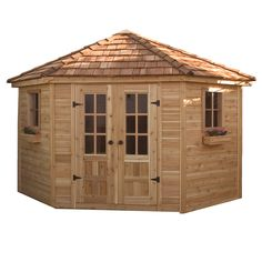 Shop Outdoor Living Today Gambrel Cedar Wood Storage Shed (Common: 9-ft x 9-ft; Interior Dimensions: 12.33-ft x 9.49-ft) at Lowes.com