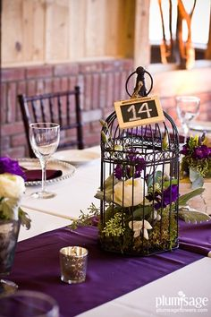 Birdcage Centerpiece by Plum Sage Flowers with: white peonies, purple lisianthus, moss, and seeded eucalyptus tendrils.