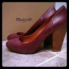 "Madewell ""Frankie"" Leather Pump Beautiful, barely worn heel with slight platform for comfort. The shoe is two tone with a maroon (""rich plum"") leather pump and heel in wood tone. I love these but I don't really wear very high heels anymore. The thick heel is great for walking! These can work in any season, too. Madewell Shoes Heels"