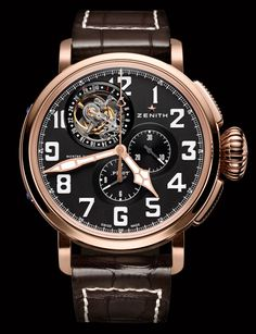 Zenith Pilot Montre d'Aeronef Type 20 Tourbillon Watch #Baselworld #Luxury #Zenith