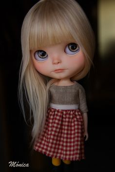 Britta, a Blythe doll. Ooak Dolls, Blythe Dolls, Mery Crismas, Kawaii Doll, Creepy Dolls, Little Doll, Hello Dolly, Custom Dolls, Doll Face