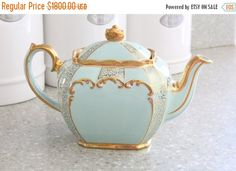 Thanksgiving Sale Incredibly RARE 1948 English Pottery by James Sadler & Sons, Cube Shape, Teal, SeaFoam Green and Gold Teapot, Collectible,