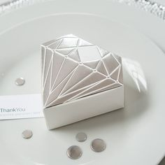 Diamond Favor Box with Metallic Silver - Shop on WeddingWire! Hand Fans For Wedding, Wedding Ring Box, Wedding Favor Boxes, Wedding Table, Wedding Decor, Custom Wedding Favours, Glitter Wedding Invitations, Wedding Party Favors, Wedding Cakes
