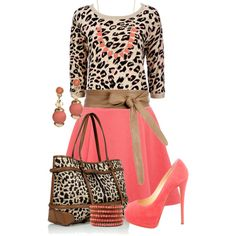 Animal Coral Print by casemay14 on Polyvore the matching purse is a little much but i love the outfit!