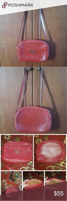 Vintage Ted Lapudus Red Leather Shoulder Bag Excellent condition. Red leather. Measurements in pics above. Adjustable strap (measurements of strap drop as shown are in 4th pic). Classic look. Great quality leather scent. Ted Lapidus Bags Shoulder Bags