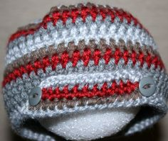 Newborn baby boy beanie crocheted button cap jsuey123 photo hat by jsuey123 on Etsy