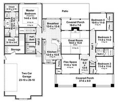 Craftsman Style House Plan - 4 Beds 2.5 Baths 2199 Sq/Ft Plan #21-309 Floor Plan - Main Floor Plan - Houseplans.com