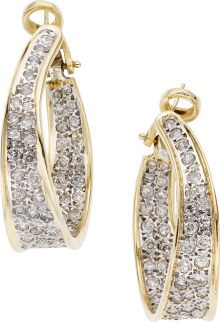 Diamond, Gold Earrings - hoops feature full-cut diamonds weighing a total of approximately 2.30 carats, set in 14k gold