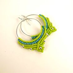 Macrame Hoop Earrings Hoop Earrings In Apple Green by neferknots