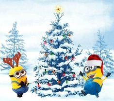 Minions Christmas on We Heart It We Love Minions, Cute Minions, Minions Despicable Me, My Minion, Minion Avengers, Funny Minion, Minion Christmas, Christmas Cartoons, Christmas Humor