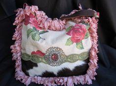 Vintage Barkcloth Roses and Cowhide Handbag by LadidaHandbags, $155.00