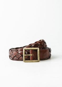 H.E. By Mango Men's Braided Leather Belt, Leather