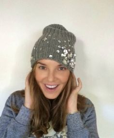 Grey wool beanie adorned with crystals and by bluegreystudio