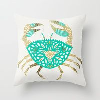 Throw Pillows featuring Crab – Turquoise & Gold by Cat Coquillette