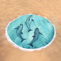 Round Beach Towel • • Watercolor vaquita porpoise art by wildlife artist Amber Marine ••• Learn about the critically endangered vaquita and how you can help at http://www.nmmf.org/VaquitaCPR.html ••• (Artist donates a portion of her commission from any 2017 sales of this item to vaquita conservation.)