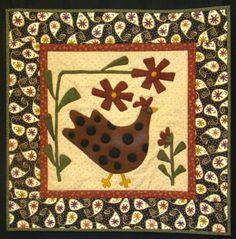 """The appliques are wool, on cotton background....interesting.  Wall hanging size 20""""x20"""""""