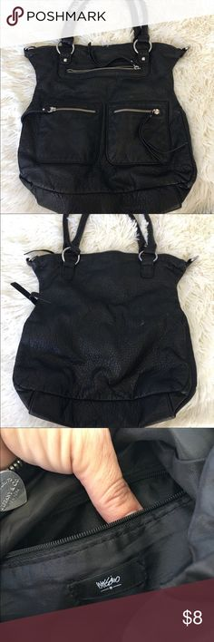 Mossimo black purse Preowned in good condition there are no noticeable or tears or stains. The main zipper to close the purse is broken but Other than that the purse is very cute and spacious. Measurements is in the sizing Mossimo Supply Co Bags