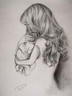 Pencil drawings · how to draw hair, baby art, mothers love, body art tattoos, baby Mommy Tattoos, Mother Tattoos, Baby Tattoos, Body Art Tattoos, Cool Art Drawings, Pencil Art Drawings, Art Drawings Sketches, Drawing Ideas, Beautiful Drawings