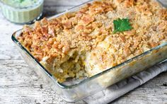 <p>This casserole is made from hash browns, a bit of the cream of celery soup, dairy-free créme fraiche, melty cheese shreds, and crunchy, salty crackers for the topping. </p>