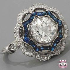 Platinum Ring Setting *  Art Deco style platinum sapphire and diamond ring