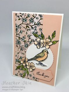 card making ideas stampin up Card featuring Free as a Bird stamp set, Bird Ballad DSP and Stitched Nested Labels dies from Stampin Up! Bird Cards, Butterfly Cards, Flower Cards, Fleurs Diy, Masculine Birthday Cards, Masculine Cards, Stampin Up Catalog, Fun Fold Cards, Stamping Up Cards