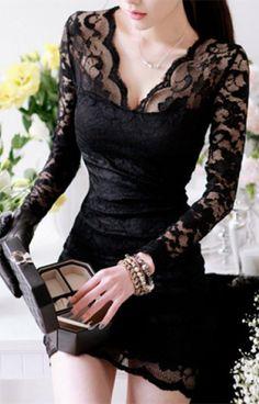 Women V-neck low-cut Long Sleeve Evening Party Cocktail Lace Mini Dress