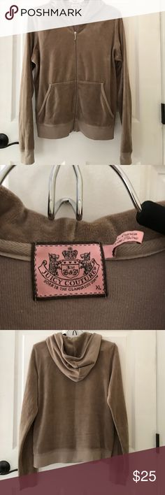 """Juicy Couture taupe velour hoodie Sz lg Purchased on Posh but this runs small and I am chesty,, beautiful taupe color and like new condition. Armpit to armpit measures 21"""" Bird by Juicy Couture Tops Sweatshirts & Hoodies"""
