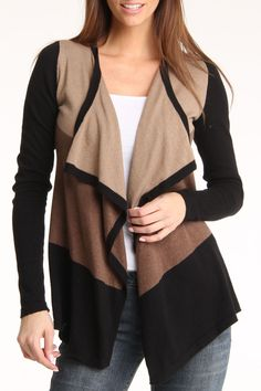 Arianne Candace Cardigan In Black And Taupe