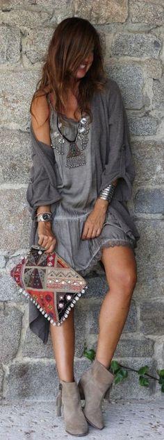 Boho shades of gray outfit idea