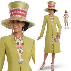"""Donna Vinci 5552 Colors: Lime/Multi Jacket Length: 45"""" Dress Length 45"""" Sizes: 8, 10, 12, 14, 16, 18, 20 Matching Hat Available Donna Vinci 5552H http://www.divasdenfashion.com/Donna-Vinci-5552-p/don-5552.htm #DivasDenFashion #DonnaVinci #COGIC"""