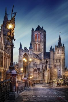 Nightshot of Saint Nicholas Cathedral (Ghent, Belgium) from Saint Michaels´s Bridge,Lights of Ghent By Miguel Angel Martín Campos
