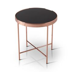 Furniture of America Rosina Contemporary Mirrored Black/Rose Gold Round End Table (Rose Gold/Black)