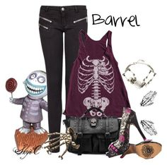 """Barrel - Disney's Nightmare Before Christmas"" by rubytyra ❤ liked on Polyvore featuring MANGO, American Apparel, BeiBaoBao, Iron Fist, Bernard Delettrez, Glenda López, disney, disneybound and nightmarebeforechristmas"