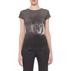 Women's Akris Lion Print Stretch Cotton Jersey Tee (2.255 BRL) ❤ liked on Polyvore featuring tops, t-shirts, elephant, lion tee, animal print tees, animal tees, animal print tops and jersey top