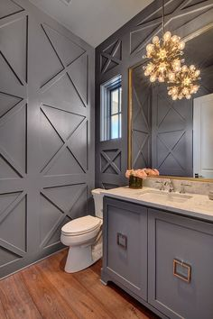 I like the accent wall in this modern powder room ideas. Sparkling pendant lighting for the attractive powder room in gray Bathroom Interior, Modern Bathroom, Budget Bathroom, Bohemian Bathroom, Bathroom Ideas, Bathroom Wall, Bathroom Moulding, Bathroom Baskets, Bathroom Canvas