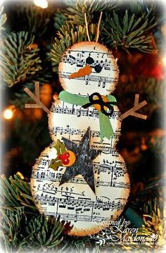Snowman made with sheet music