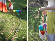 Rainbow scavenger hunt--a variation that would be fun for a party is each kid gets a different color and they are woven all over and through each others. Treat bag, or something at the end.