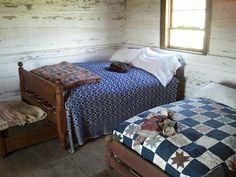 Simple farm house bedroom, beautiful blankets